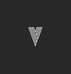 v logo letter initial monogram thin line black vector image vector image