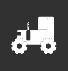 White icon on black background children tractor vector