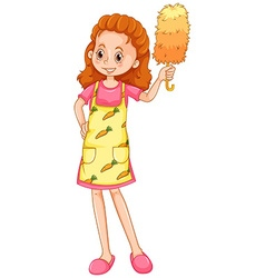 Woman with apron and duster vector image vector image