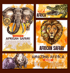 zoo sketch poster wild african animal vector image vector image