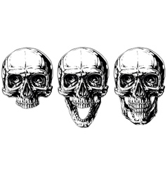 Set of graphic black and white human skull tattoo vector