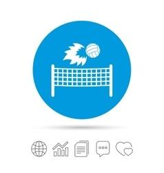 Volleyball net fireball icon Beach sport symbol vector image
