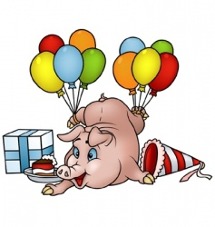 pig with balloons vector image