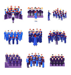 Choir singing ensemble flat icons collection vector