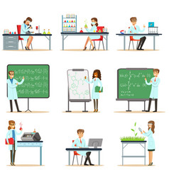 Scientists at work in a lab and an office series vector