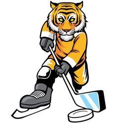 Tiger playing ice hockey vector