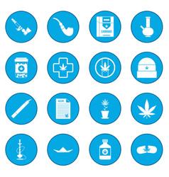 Marijuana icon blue vector