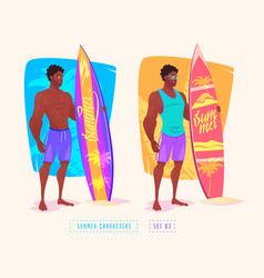 Surfing guy cartoon character isolated vector
