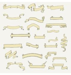 set of ribbon banner shapes in vintage vector image