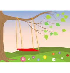 Swing on the tree vector