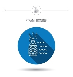 Steam ironing icon iron housework tool sign vector
