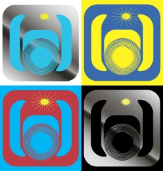 A set of graphical icons with a color camera vector