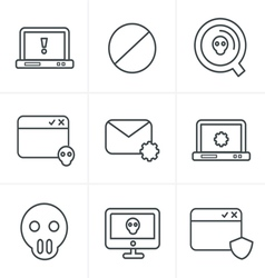 Line icons style digital criminal icons set vector