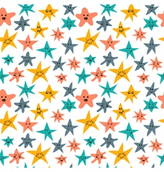 Seamless pattern with cute smiley stars abstract vector