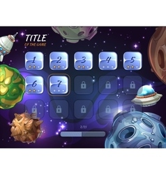 Cartoon space background for ui game vector