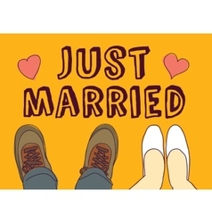 Just married couple and sign vector