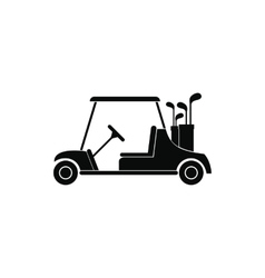Red golf car black simple icon vector