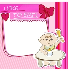 Postcard small child eats at the table vector