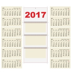 Template grid wall calendar 2017 first day monday vector