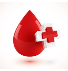 Red 3d style blood drop with plus symbols vector