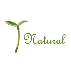 Label natural sprout symbol vector