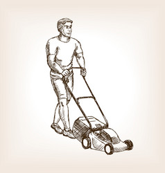 Lawnmower sketch vector