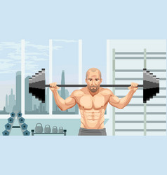 athlete with barbell vector image