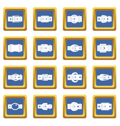 Belt buckles icons set blue vector