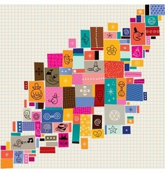 Collage doodle background vector