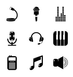 Electronic music icons set simple style vector