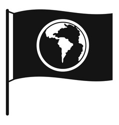 Flag with world planet icon simple style vector