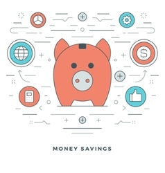 Flat line money savings concept vector