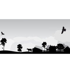 grey landscape with trees and village vector image