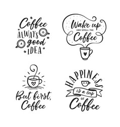 hand drawn coffee related quotes set vector image vector image