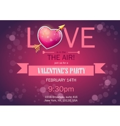 Invitation card on Valentines Day horizontal vector image vector image