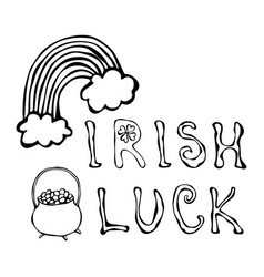 Irish luck logo with rainbow and pot of gold vector