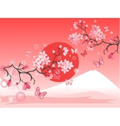 Japanese cherry tree vector