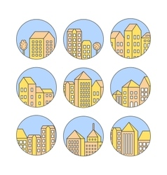 Linear city icons set vector