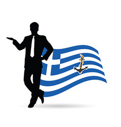 Man pose front of greek flag silhouette vector