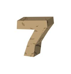 Number 7 stone rock font seven stones alphabet vector