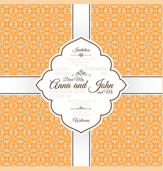orange vintage linear arabic pattern card vector image vector image