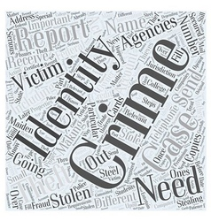 Reporting identity theft word cloud concept vector