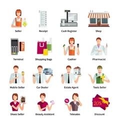 Salesman flat color icons set vector