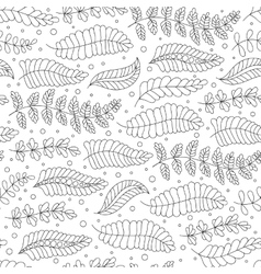 Seamless pattern black and white doodle leaves vector image