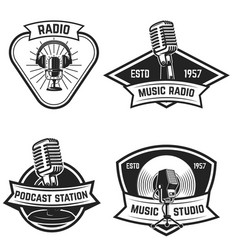set of emblems with old style microphone isolated vector image