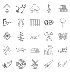 Settlement icons set outline style vector