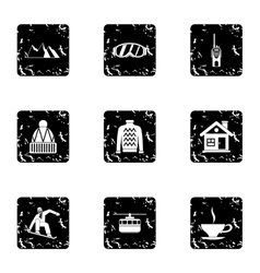 Snowboarding icons set grunge style vector