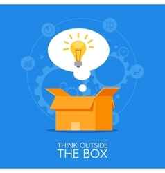 Thinking out of the box concept background vector