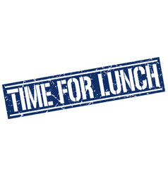 time for lunch square grunge stamp vector image vector image
