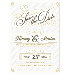Vintage save the date card letterpress style vector image vector image